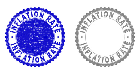 Grunge INFLATION RATE stamp seals isolated on a white background. Rosette seals with grunge texture in blue and gray colors. Vector rubber overlay of INFLATION RATE text inside round rosette.