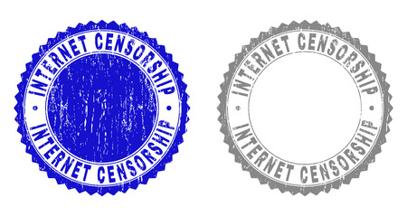 Grunge INTERNET CENSORSHIP stamp seals isolated on a white background. Rosette seals with grunge texture in blue and gray colors. Ilustrace