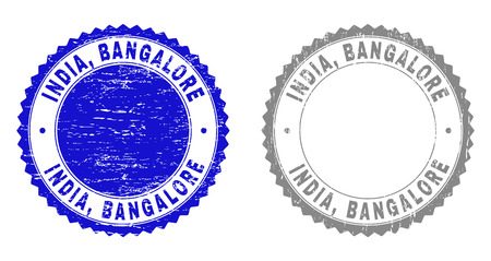 Grunge INDIA, BANGALORE stamp seals isolated on a white background. Rosette seals with grunge texture in blue and gray colors. Vector rubber stamp imitation of INDIA,
