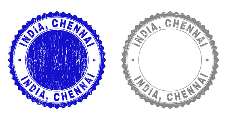 Grunge INDIA, CHENNAI stamp seals isolated on a white background. Rosette seals with grunge texture in blue and gray colors. Vector rubber stamp imprint of INDIA, CHENNAI label inside round rosette. Illustration