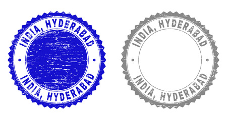 Grunge INDIA, HYDERABAD stamp seals isolated on a white background. Rosette seals with distress texture in blue and gray colors. Vector rubber stamp imprint of INDIA,