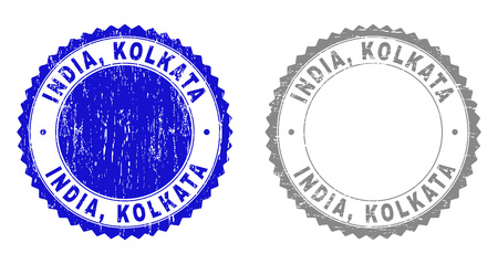 Grunge INDIA, KOLKATA stamp seals isolated on a white background. Rosette seals with grunge texture in blue and gray colors. Vector rubber stamp imitation of INDIA, Illustration
