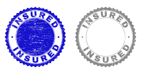 Grunge INSURED stamp seals isolated on a white background. Rosette seals with grunge texture in blue and gray colors. Vector rubber stamp imitation of INSURED tag inside round rosette. Иллюстрация