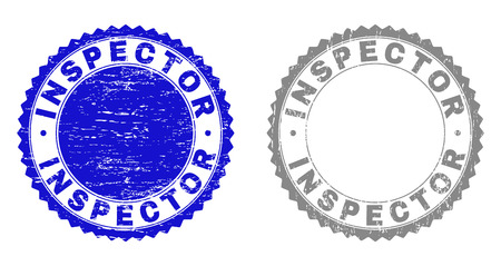 Grunge INSPECTOR stamp seals isolated on a white background. Rosette seals with distress texture in blue and grey colors. Vector rubber overlay of INSPECTOR text inside round rosette.