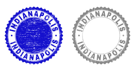 Grunge INDIANAPOLIS stamp seals isolated on a white background. Rosette seals with grunge texture in blue and grey colors. Vector rubber stamp imitation of INDIANAPOLIS title inside round rosette.