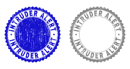 Grunge INTRUDER ALERT stamp seals isolated on a white background. Rosette seals with grunge texture in blue and gray colors.