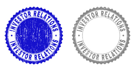 Grunge INVESTOR RELATIONS stamp seals isolated on a white background. Rosette seals with grunge texture in blue and gray colors.