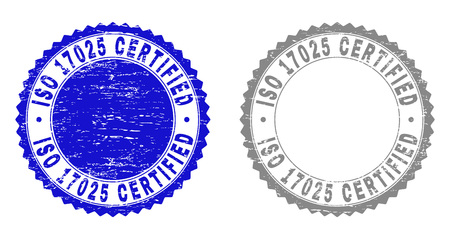 Grunge ISO 17025 CERTIFIED stamp seals isolated on a white background. Rosette seals with grunge texture in blue and gray colors. Çizim