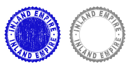 Grunge INLAND EMPIRE stamp seals isolated on a white background. Rosette seals with grunge texture in blue and gray colors. Vector rubber stamp imitation of INLAND EMPIRE text inside round rosette. 向量圖像