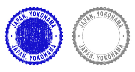 Grunge JAPAN, YOKOHAMA stamp seals isolated on a white background. Rosette seals with distress texture in blue and grey colors. Vector rubber stamp imitation of JAPAN,