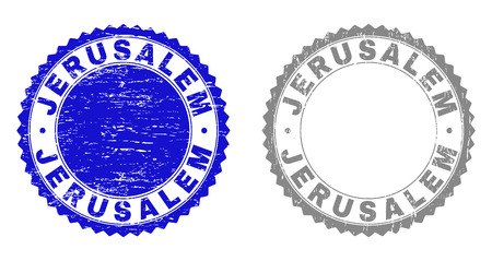 Grunge JERUSALEM stamp seals isolated on a white background. Rosette seals with grunge texture in blue and gray colors. Vector rubber stamp imitation of JERUSALEM tag inside round rosette.