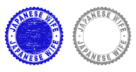 Grunge JAPANESE WIFE stamp seals isolated on a white background. Rosette seals with grunge texture in blue and grey colors. Vector rubber watermark of JAPANESE WIFE title inside round rosette.