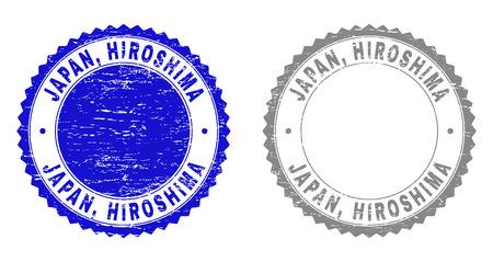 Grunge JAPAN, HIROSHIMA stamp seals isolated on a white background. Rosette seals with grunge texture in blue and grey colors. Vector rubber watermark of JAPAN, HIROSHIMA title inside round rosette.