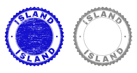 Grunge ISLAND stamp seals isolated on a white background. Rosette seals with grunge texture in blue and gray colors. Vector rubber stamp imprint of ISLAND label inside round rosette.