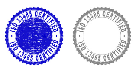 Grunge ISO 13485 CERTIFIED stamp seals isolated on a white background. Rosette seals with distress texture in blue and gray colors. Illustration