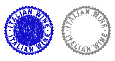 Grunge ITALIAN WINE stamp seals isolated on a white background. Rosette seals with grunge texture in blue and gray colors. Vector rubber stamp imprint of ITALIAN WINE title inside round rosette.