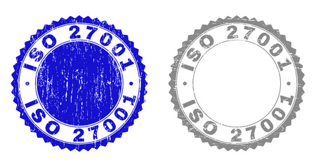 Grunge ISO 27001 stamp seals isolated on a white background. Rosette seals with distress texture in blue and grey colors. Vector rubber stamp imitation of ISO 27001 caption inside round rosette. Illustration