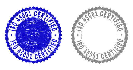Grunge ISO 45001 CERTIFIED stamp seals isolated on a white background. Rosette seals with grunge texture in blue and grey colors.