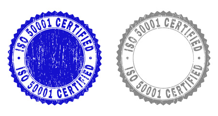 Grunge ISO 50001 CERTIFIED stamp seals isolated on a white background. Rosette seals with distress texture in blue and grey colors. Illustration