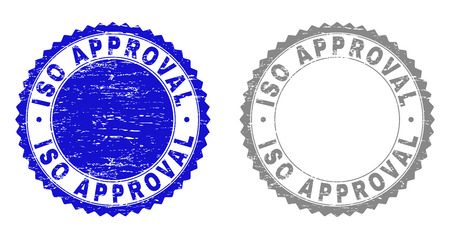 Grunge ISO APPROVAL stamp seals isolated on a white background. Rosette seals with grunge texture in blue and gray colors. Vector rubber overlay of ISO APPROVAL tag inside round rosette.