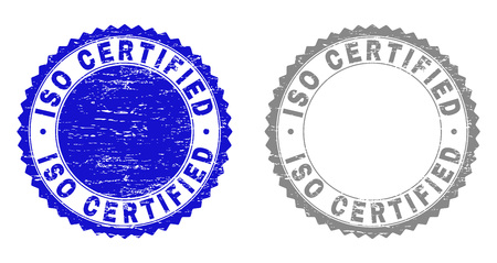 Grunge ISO CERTIFIED stamp seals isolated on a white background. Rosette seals with grunge texture in blue and gray colors. Vector rubber stamp imprint of ISO CERTIFIED text inside round rosette.