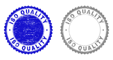 Grunge ISO QUALITY stamp seals isolated on a white background. Rosette seals with distress texture in blue and grey colors. Vector rubber watermark of ISO QUALITY caption inside round rosette.