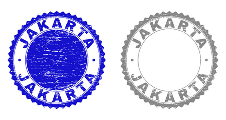 Grunge JAKARTA stamp seals isolated on a white background. Rosette seals with grunge texture in blue and gray colors. Vector rubber stamp imitation of JAKARTA title inside round rosette.