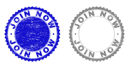 Grunge JOIN NOW stamp seals isolated on a white background. Rosette seals with grunge texture in blue and grey colors. Vector rubber stamp imprint of JOIN NOW text inside round rosette. Illustration