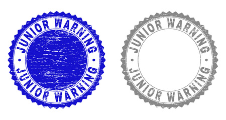 Grunge JUNIOR WARNING stamp seals isolated on a white background. Rosette seals with distress texture in blue and gray colors. Vector rubber stamp imprint of JUNIOR WARNING title inside round rosette.