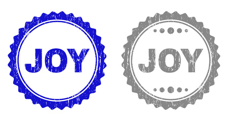 Grunge JOY stamp seals isolated on a white background. Rosette seals with grunge texture in blue and grey colors. Vector rubber stamp imprint of JOY title inside round rosette.