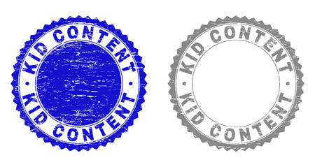 Grunge KID CONTENT stamp seals isolated on a white background. Rosette seals with grunge texture in blue and grey colors. Vector rubber overlay of KID CONTENT tag inside round rosette.