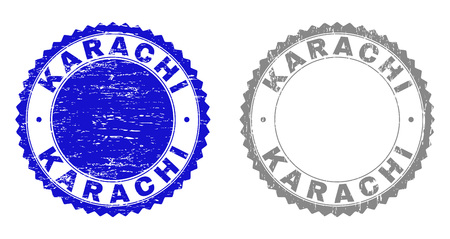 Grunge KARACHI stamp seals isolated on a white background. Rosette seals with grunge texture in blue and gray colors. Vector rubber stamp imitation of KARACHI text inside round rosette.