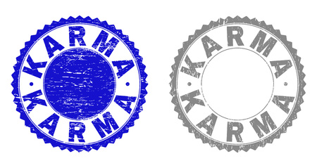 Grunge KARMA stamp seals isolated on a white background. Rosette seals with grunge texture in blue and gray colors. Vector rubber stamp imitation of KARMA caption inside round rosette.