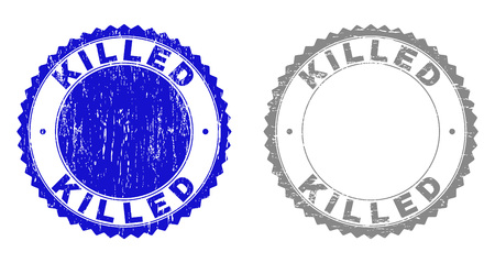 Grunge KILLED stamp seals isolated on a white background. Rosette seals with distress texture in blue and gray colors. Vector rubber stamp imprint of KILLED title inside round rosette. Stock Illustratie