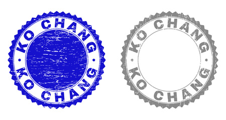 Grunge KO CHANG stamp seals isolated on a white background. Rosette seals with grunge texture in blue and gray colors. Vector rubber stamp imitation of KO CHANG text inside round rosette.