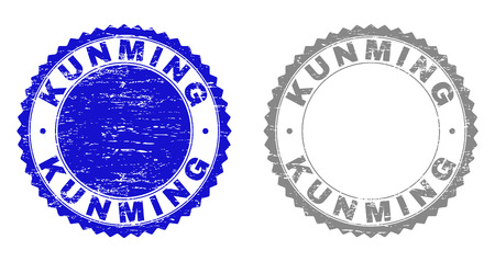 Grunge KUNMING stamp seals isolated on a white background. Rosette seals with distress texture in blue and grey colors. Vector rubber stamp imitation of KUNMING label inside round rosette.