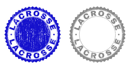 Grunge LACROSSE stamp seals isolated on a white background. Rosette seals with distress texture in blue and grey colors. Vector rubber stamp imprint of LACROSSE caption inside round rosette.