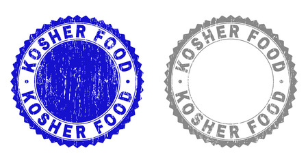 Grunge KOSHER FOOD stamps isolated on a white background. Rosette seals with grunge texture in blue and grey colors. Vector rubber stamp imprint of KOSHER FOOD caption inside round rosette.