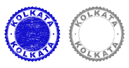 Grunge KOLKATA stamp seals isolated on a white background. Rosette seals with grunge texture in blue and gray colors. Vector rubber stamp imitation of KOLKATA title inside round rosette.