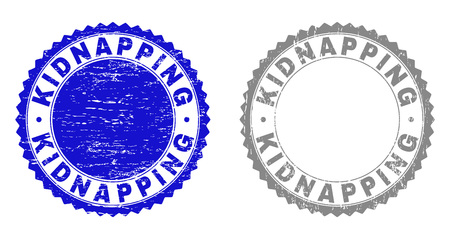 Grunge KIDNAPPING stamp seals isolated on a white background. Rosette seals with grunge texture in blue and grey colors. Vector rubber stamp imitation of KIDNAPPING text inside round rosette.