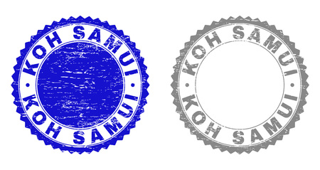 Grunge KOH SAMUI stamp seals isolated on a white background. Rosette seals with grunge texture in blue and grey colors. Vector rubber watermark of KOH SAMUI text inside round rosette. Illustration