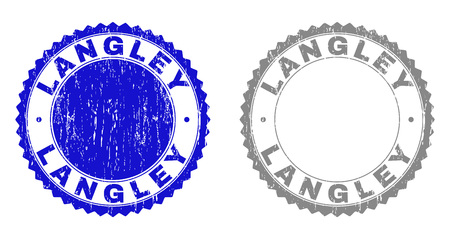 Grunge LANGLEY stamp seals isolated on a white background. Rosette seals with distress texture in blue and gray colors. Vector rubber stamp imprint of LANGLEY label inside round rosette. Banco de Imagens - 125368867