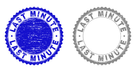 Grunge LAST MINUTE stamp seals isolated on a white background. Rosette seals with grunge texture in blue and gray colors. Vector rubber stamp imprint of LAST MINUTE tag inside round rosette.