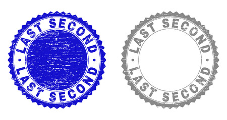 Grunge LAST SECOND stamps isolated on a white background. Rosette seals with grunge texture in blue and gray colors. Vector rubber stamp imprint of LAST SECOND caption inside round rosette.