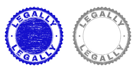 Grunge LEGALLY stamp seals isolated on a white background. Rosette seals with grunge texture in blue and grey colors. Vector rubber stamp imprint of LEGALLY caption inside round rosette.