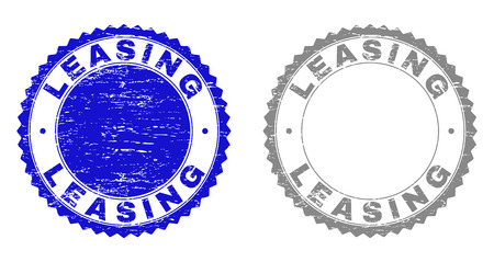 Grunge LEASING stamp seals isolated on a white background. Rosette seals with grunge texture in blue and gray colors. Vector rubber overlay of LEASING tag inside round rosette.