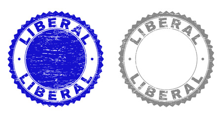 Grunge LIBERAL stamp seals isolated on a white background. Rosette seals with grunge texture in blue and grey colors. Vector rubber stamp imitation of LIBERAL tag inside round rosette. Çizim