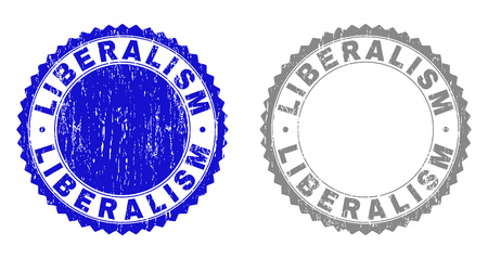 Grunge LIBERALISM stamp seals isolated on a white background. Rosette seals with grunge texture in blue and gray colors. Vector rubber stamp imitation of LIBERALISM title inside round rosette.