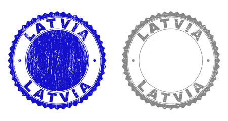 Grunge LATVIA stamp seals isolated on a white background. Rosette seals with grunge texture in blue and gray colors. Vector rubber watermark of LATVIA text inside round rosette.