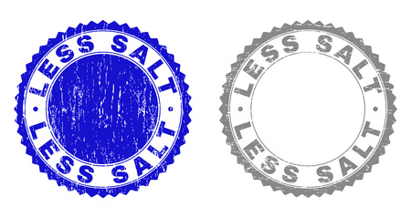Grunge LESS SALT stamp seals isolated on a white background. Rosette seals with distress texture in blue and grey colors. Vector rubber stamp imprint of LESS SALT title inside round rosette. Illustration